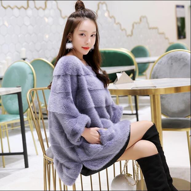 Nuevo abrigo de piel de visón real de invierno grueso abrigo de piel natural de piel genuina chaqueta de piel real Jersey femenino