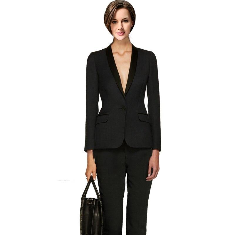 Blazer Jacket 2 Piece Set Long Pants Suits Office Uniform Designs Women Autumn Patchwork Double Breasted Female Business Suit
