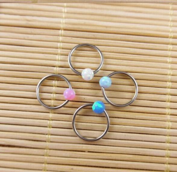 1pcs/lot 316L Surgical Steel Opals puncturing nose ring opal The annular bone nail Body Jewelry piercing naso navelpiercing