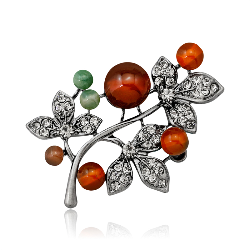 Brooches Jewelry Stone Leaf-Branch-Tree-Pins Crystal Party Plant Women for Scarf Lapel