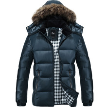 New 2017 Autumn and Winter Fashion Warm Thickening Slim Design White Duck Down Jacket Men Coat With Faux Fur Hat Free Shipping
