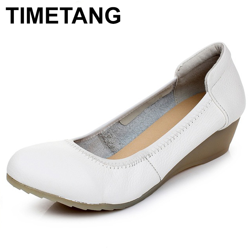 TIMETANG New Fashion Wedges Shoes Genuine Leather Women Pumps White Work shoes Spring /Autumn Casual shoes Woman Nurse shoes