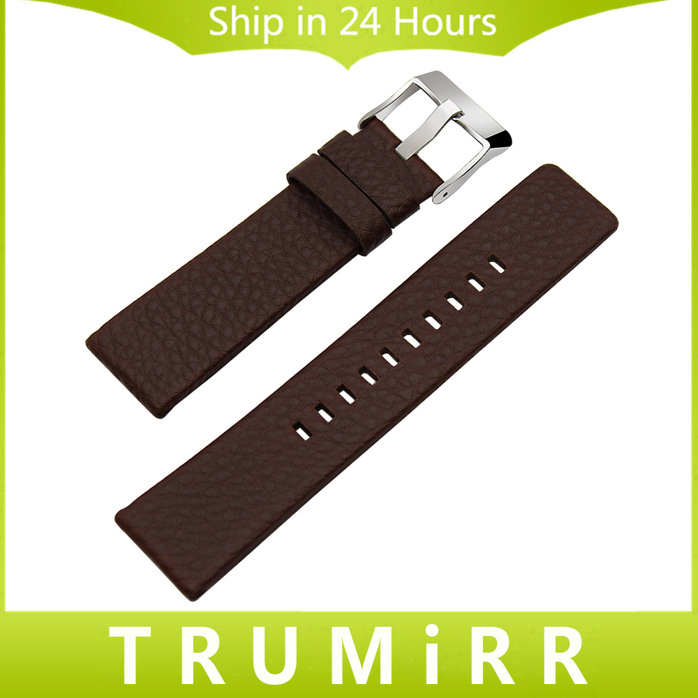 20/24/26/27/28mm Genuine Cow Leather Watchband +Tool for DZ7313/22/7257 Men Women Watch Band Wrist Strap Steel Buckle Bracelet canvas nylon watchband tool for garmin fenix 5 forerunner 935 fr935 leather watch band sports strap steel buckle bracelet