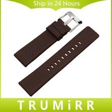 20/24/26/27/28mm Genuine Cow Leather Watchband +Tool for DZ7313/22/7257 Men Women Watch Band Wrist Strap Steel Buckle Bracelet