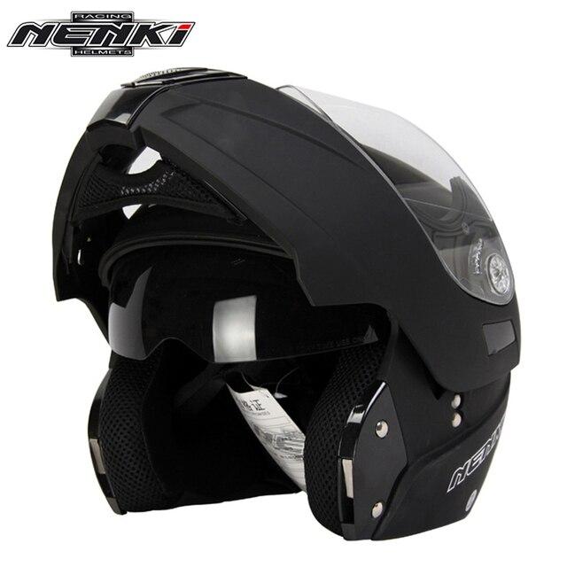 NENKI negro mate Casco de la motocicleta Casco de cara completa gira Moto  Modular Flip Up 4fd0b93213a