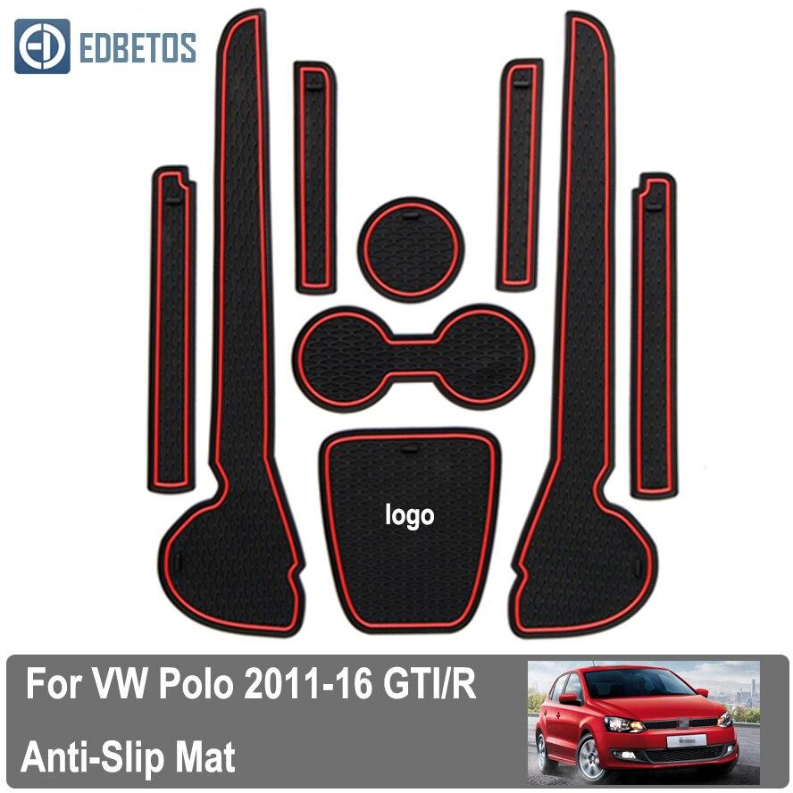 For Volkswagen Polo V W GT I 2011 2016 rubber mat door mat anti slip Cup