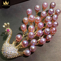 KingDeng Natural Pearl Brooch Peacock Luxurious Women Fashion Enamel Pins Gold Brooches Accessories Jewelry Christmas Cute
