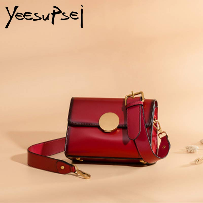 YeeSupSei 2018 New Women Vintage Handbag Cow Leather Totes Female Shopping Soft Shoulder Bags Women Round Buckl Banquet HandbagYeeSupSei 2018 New Women Vintage Handbag Cow Leather Totes Female Shopping Soft Shoulder Bags Women Round Buckl Banquet Handbag