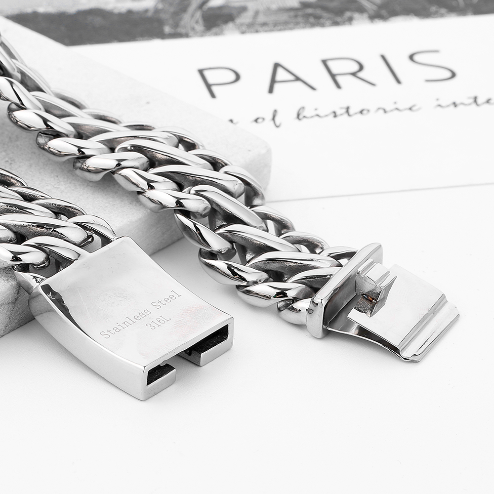 Image 2 - Double Curb Cuban Chain Bracelet Mens 316L Stainless Steel Wristband Bangle Silver Tone 23mm Buddha Bracelet with Logo-in Chain & Link Bracelets from Jewelry & Accessories