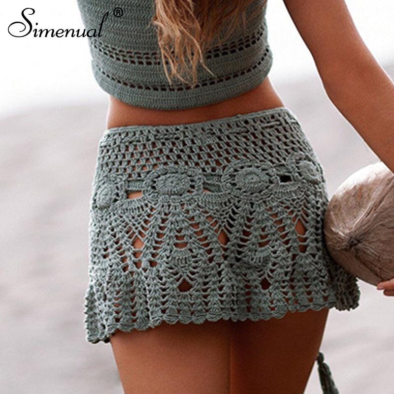 Simenual Sexy Summer Crochet Swimwear Floral BOHO Mini Skirts Transparent Pareos Beachwear Handmade Hollow Out Short Skirt Lace