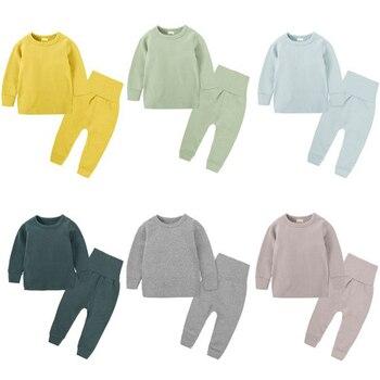 Kinder geschichten herbst winter baby kleidung hause tragen Pyjamas Set Baumwolle 2 stücke hohe taille pyjamas anzug für 6m-6Y kinder junge mädchen outfits