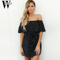 WYHHCJ 2017 New Sexy Off Shoulder Women Dress Slash Neck Ruffles Sleeve Black Summer Dress Bodycon