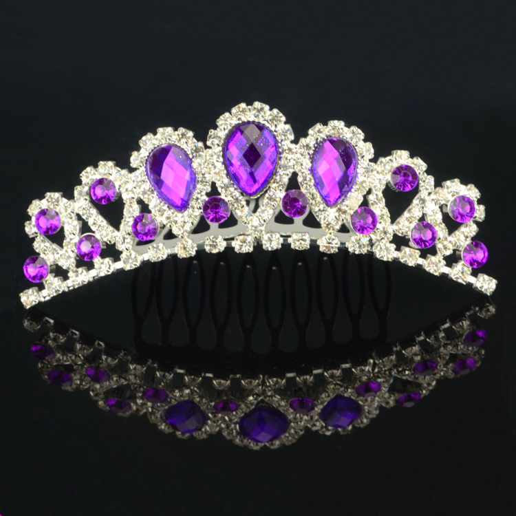 Online Shop Free Shipping 20Pcs Elegant Wedding Bridal Tiara Purple Rhinestone Hair Comb For Women YC 1010080