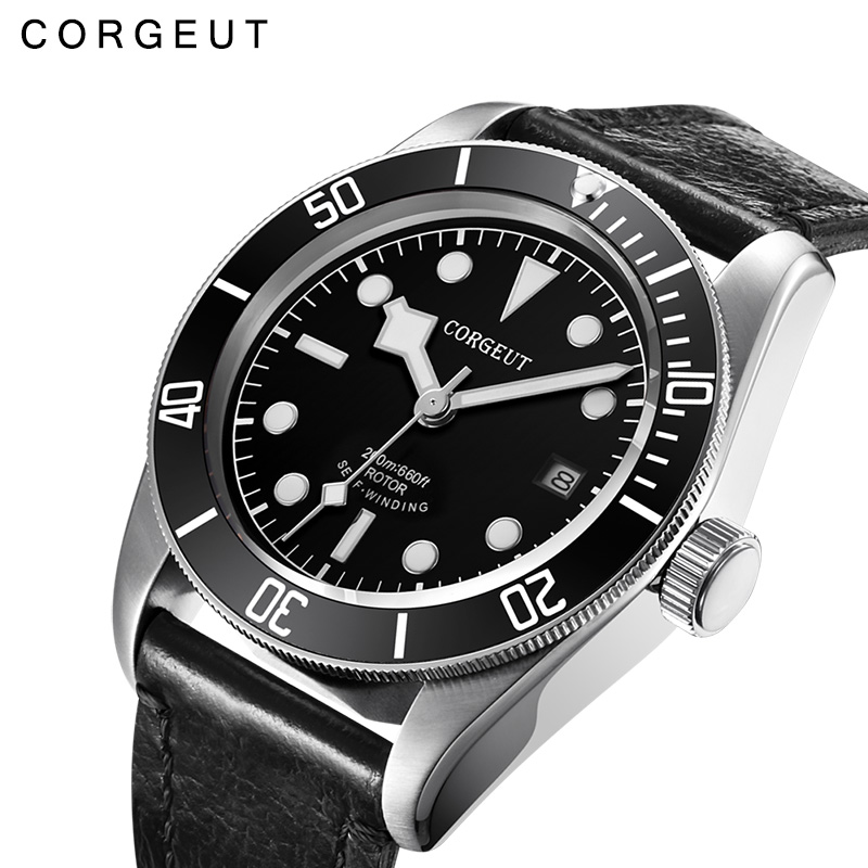 лучшая цена 41mm Corgeut black mechanical watch waterproof calendar automatic mechanical watch men's fashion business watch