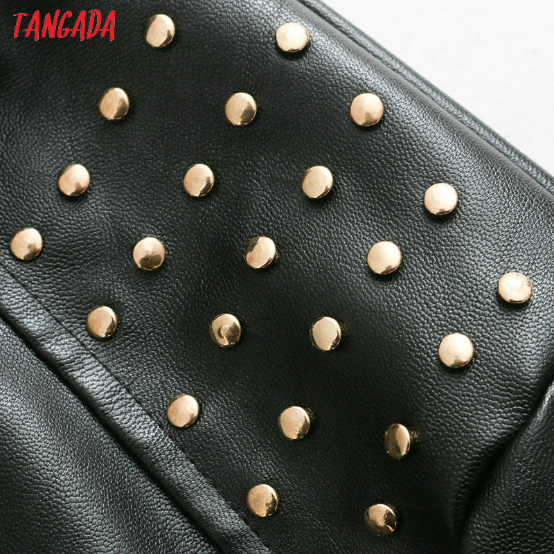 Leather Rivet Pockets Jackets Vintage Sleeve Casual Be367 Pu Women Long Tangada Outerwear Coat Female Black wqICxUnf