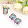 Luckyshine Wedding Silver Plated Jewelry Square Fire Mystic Created Topaz Crystal Rings Drop Earrings Wedding Jewelry Sets