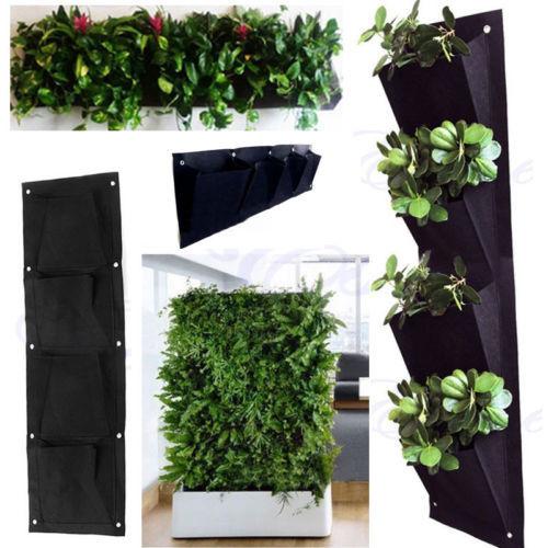 Greening Hang Home Wall Garden Seedling Plant Grow Bag Planter Hot Convenient Solid Brief 4 Pocket Vertical