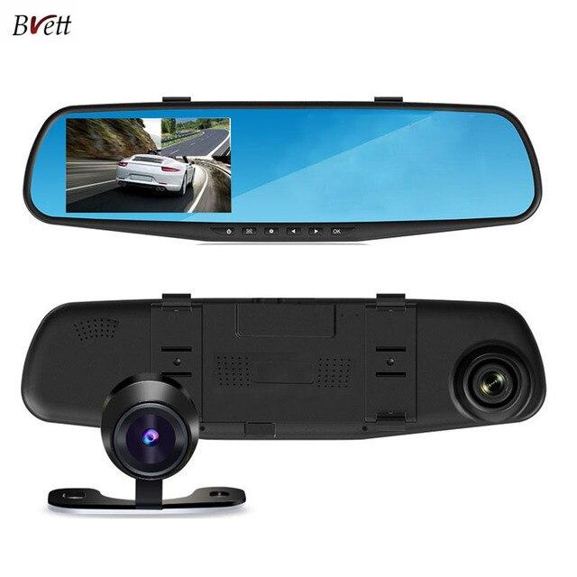 Двойная камера PIP автомобильный видеорегистратор Full HD 4.3 дюймов 1080 P зеркало заднего вида даш Cam g-сенсор 150 град. автомобильный видеорегистратор видеокамера