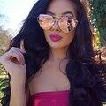 Mais novo twin-vigas de cat eye sunglasses mulheres marca designer óculos de sol óculos de sol espelho de tela plana amor soco nítida queda navio
