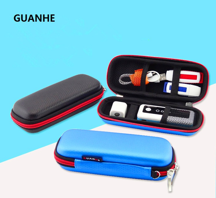 GUANHE New USB Flash Drives Carrying Organizer Case Storage Protection Pouch Bag USB bank Key Power Bank earphone