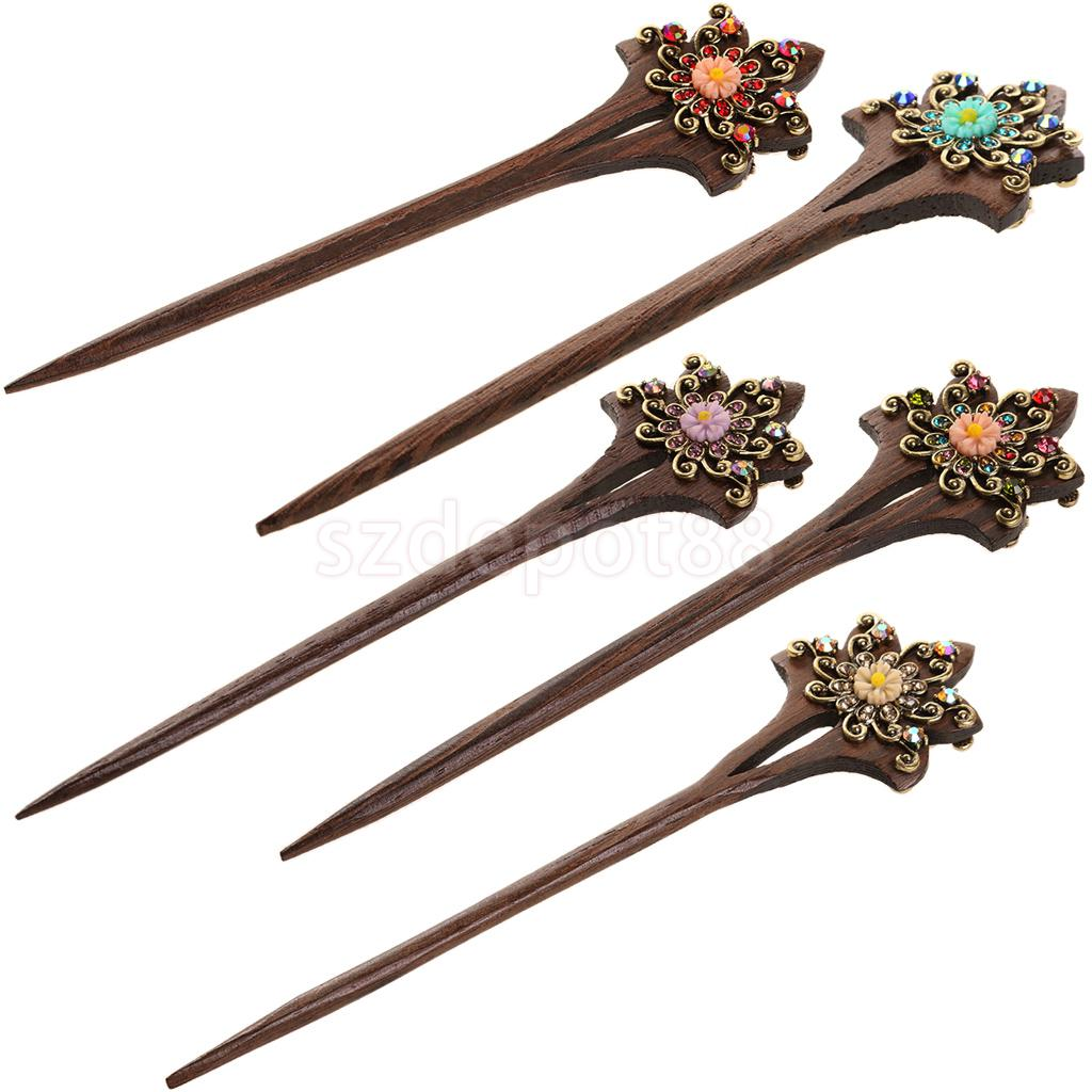 Women Crystal Hair Jewelry Hair Stick Clip Pin Bridal Long Hair Accessories Asian Style