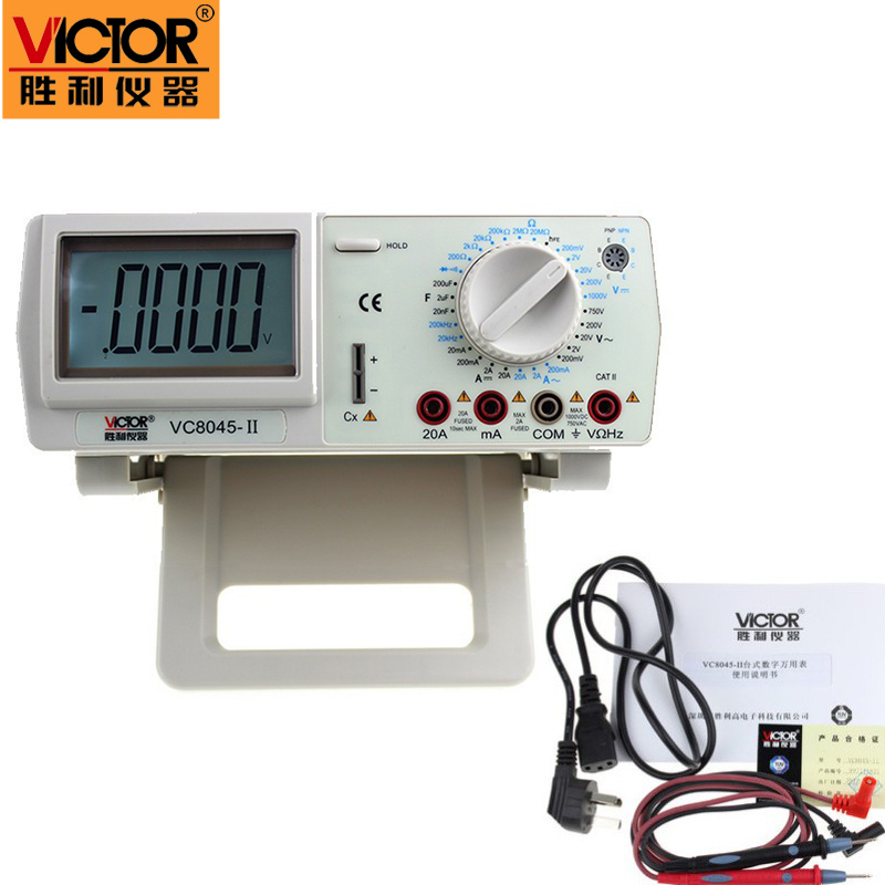 Victor vc8045-II New DMM Bench Top backlight Multimeter Meter 4 1/2 True RMS MULTIMETER DCV/ACV/DCA/ACA victor vc9808 3 1 2 digital multimeter dcv acv dca r c l f