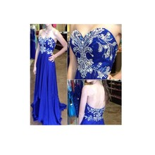 Elegante A-Line Liebsten Zipper-Up Zurück Lange Abendkleid Appliques Royal Blue Chiffon Abendkleider
