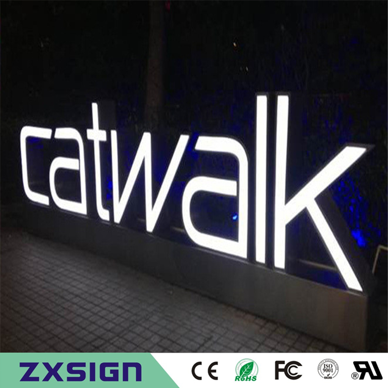 Factory Outlet Outdoor Waterproof High Brightness Acrylic Stainless Steel Sides Large Light Letters, Led Channel Letter Signs