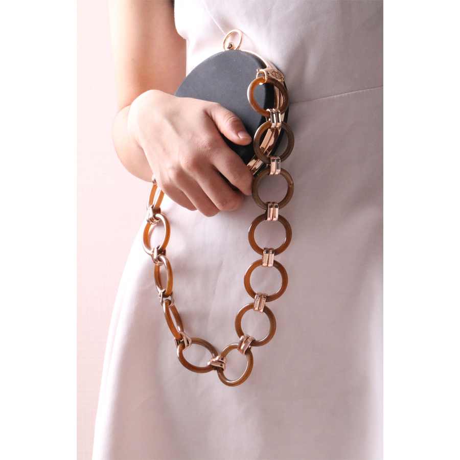 Luxury Acrylic Bag Strap Fashion Resin Chains Women Shoulder Strap 60CM Metal Circle Ring Handbag Purses Belts Accessories Chic