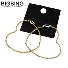 BIGBING jewelry fashion golden heart circle stud earrings fashion stud earring high quality free shipping S313(China)