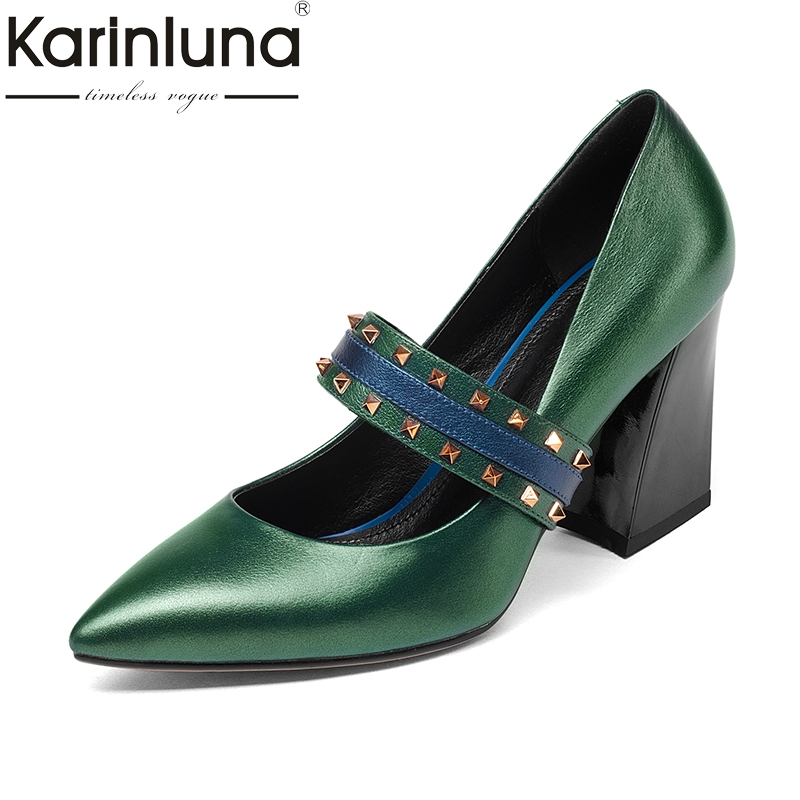 KarinLuna Cow Leather Fashion Hoof High Heels Pointed Toe Slip On Rivet Women Shoes Woman Party Wedding Pumps Size 34-39 beango 2018 new fashion women high heels pointed toe striped pumps mixed colors rivet stiletto party wedding shoes woman