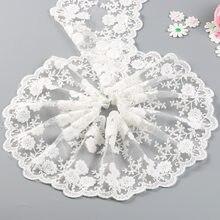 2 quintal algodão tecido de renda branca bordado net gaze laço laço headwear material casamento largura 11.5 cm diy artesanato costura guarnição do laço