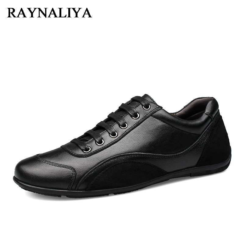 Spring Autumn Men's Genuine Cow Leather Casual Shoes Classic Fashion Male Lace Up Flats Black Men Flat Heel Sneakers LB-A0025 xiaguocai spring autumn high top men shoes fashion canvas men s casual shoes lace up flat ankle boots for male