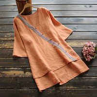 6520 new summer women ramie blouse chinese style literary vintage loose V Neck short sleeve tops casual pullover women