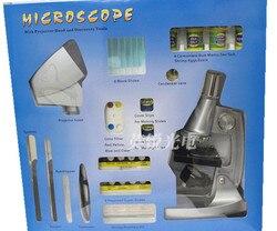 100X 400X 1200X LED edukacyjne zabawki dla dzieci dla dzieci Student podświetlany mikroskop z lampa projektorowa lampa i Preapred próbki