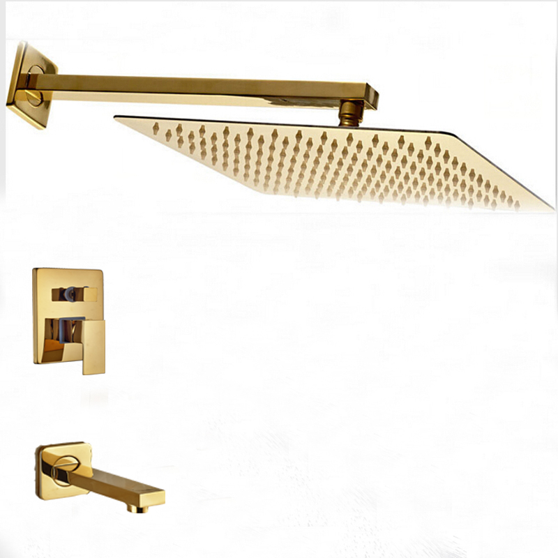 Wholesale And Retail Wall Mounted Golden Brass Square Rain Shower Head Sinlge Handle Valve Mixer Tap Tub Spout modern square golden brass bathroom rain shower head faucet valve mixer tap new