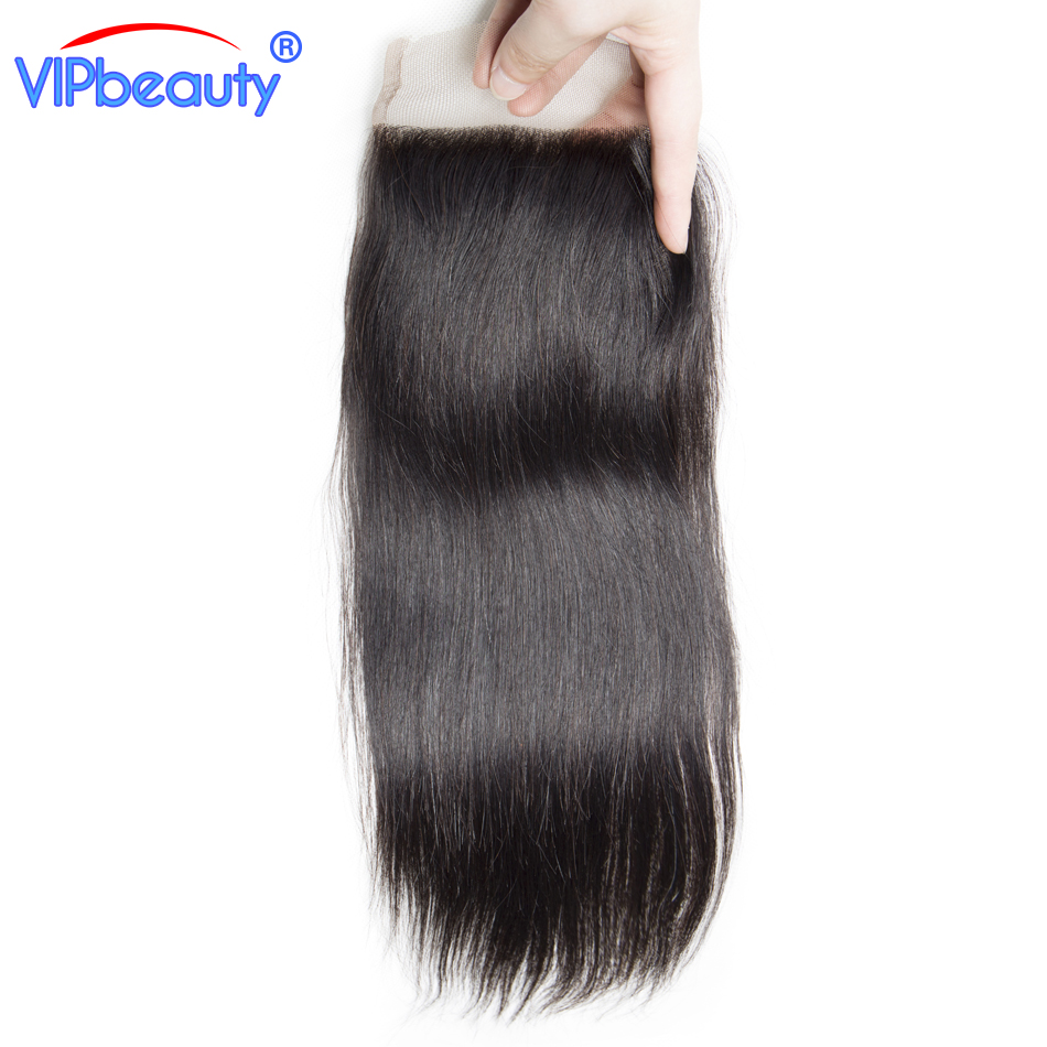 Vipbeauty Peruvian straight remy hair 4x4 lace closure 130% density human hair extension 1b 12-18 inch