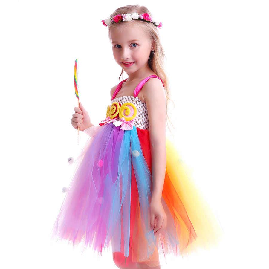 Lollipop Candy Girls tutú vestido niños Arco Iris cumpleaños fiesta vestido niños dulce Candy Land traje niñas baile Recital vestido