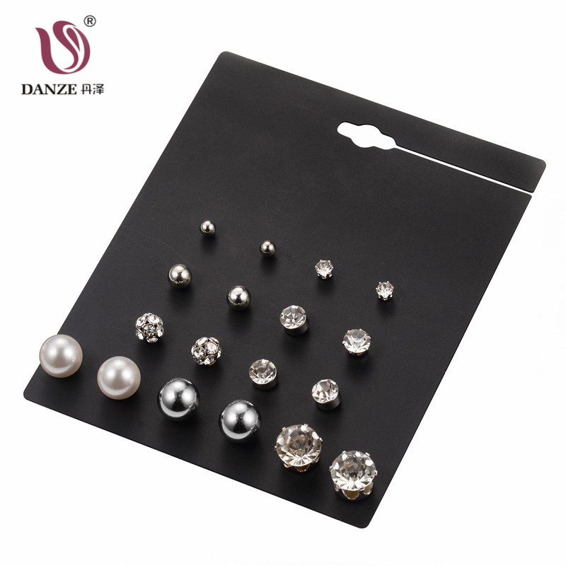 12 Pair /Lot New Fashion Classic Style Bead Crystal Stud Earrings Set For Women Fine Pearl Jewelry Wholesale Price 7 Style
