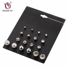 DANZE 9 Pair Lot Fashion Classic Crystal Stud Earrings Set For Women Simulated Pearl Jewelry Wholesale