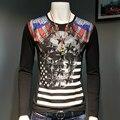 Alemanha estilo de lazer T-shirt de manga comprida personalidade da marca crânio perfuração tipo selo moda masculina longas tees
