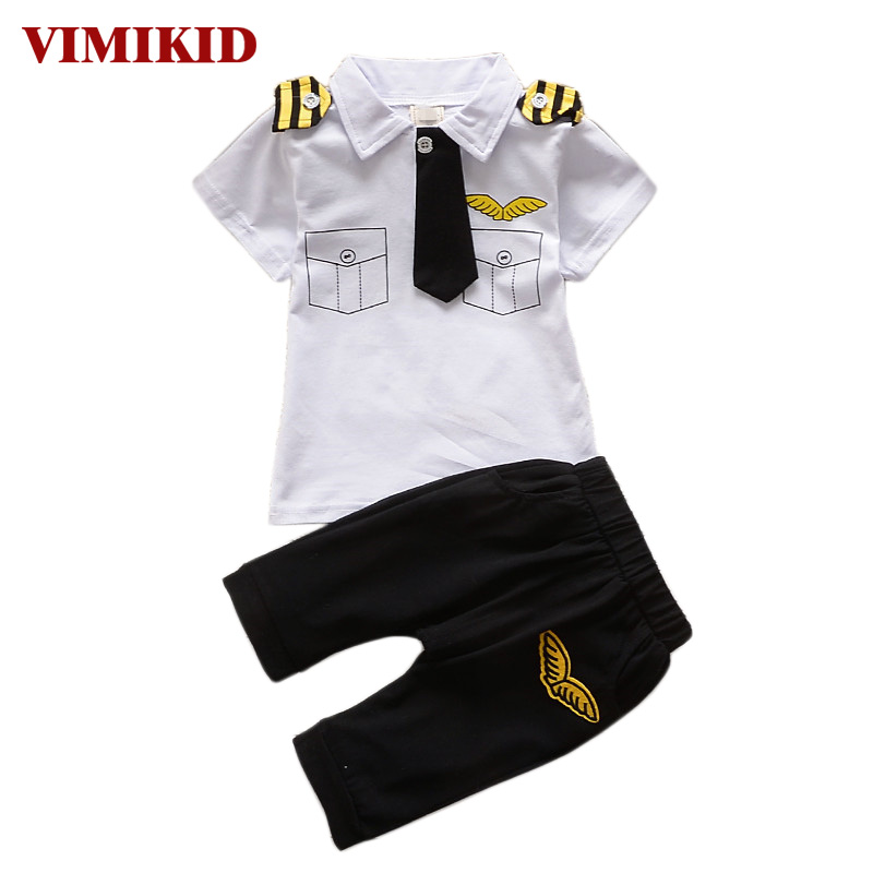VIMIKID 2017 clothes suits children baby boys summer clothing sets cotton kids tie gentleman outfits short sleeve tops t shirt
