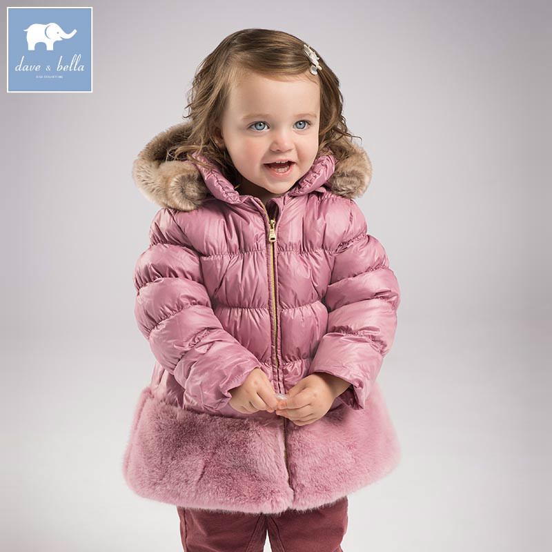 DB6100 dave bella winter baby girls down jacket children padding coat kids infant hooded outerwear db4631 dave bella winter infant coat baby girls red dots printed coat white duck down padded coat hooded outerwear
