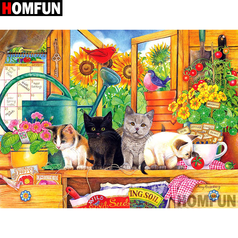 HOMFUN 5D DIY Diamond Painting Full Square Round Drill quot Animal cat quot Embroidery Cross Stitch gift Home Decor Gift A08499 in Diamond Painting Cross Stitch from Home amp Garden