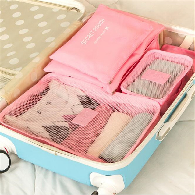 Nylon Packing Cube Travel Bag System Durable 6 Pieces One Set Large Capacity Of Sports Bags Unisex Clothing Sorting Organize Bag