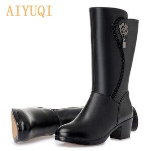 Image 4 - AIYUQI/Новинка 2020 года; Женские шерстяные ботинки из натуральной кожи; Теплые зимние ботинки; Женские мотоциклетные ботинки; Большие размеры 41, 42, 43