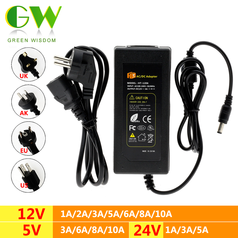 DC5V 12V <font><b>24V</b></font> LED Power Supply AC100-240V <font><b>Adapter</b></font> Converter Charger <font><b>1A</b></font> 2A 3A 5A 6A 8A 10A Lighting Transformers for LED Strip image