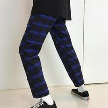 f4981f0c3b2 Elastic Waist Plaid Korean Streetwear Slim Summer Sweatpant HipHop Pant  Straight Trouser Gradient Contrast Harem Bottom