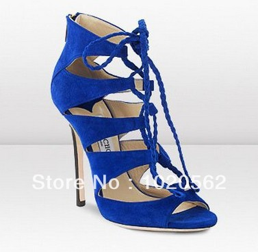 ec2809d0f24 New Fashion Women Strappy Gladiator High Heel Sandals Blue Color Sexy Sandal  Ankle Boots for Women