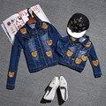 2016 del otoño del resorte de mezclilla chaquetas de la capa de la ropa de la familia juego de madre e hija ropa mamá y el hijo de trajes mamá y yo ropa